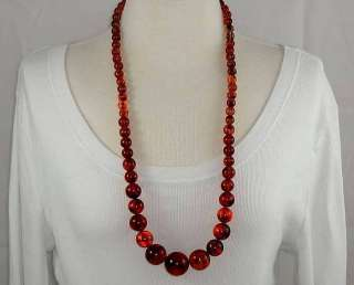31 Long Vintage Necklace With Large Faux Tortoise Shell Lucite Beads