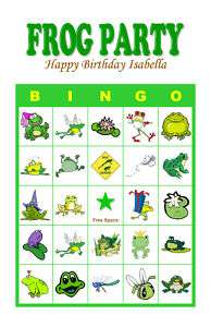 Frog Hoppy Birthday Party Game Bingo Cards