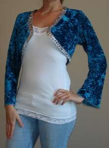 ESPRESSA teal silver rhinestone shrug top 1X 2X 3X PLUS