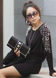 Black Women Korea Leopard Round Neck T shirt Dress S L