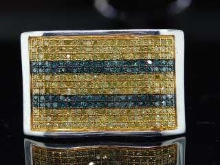 MENS WHITE GOLD FINISH YELLOW DIAMOND PINKY RING PAVE