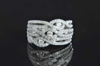 14K White Gold Wide Woven Diamond Pave Band Ring 7.25