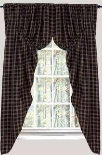 Prairie Curtains CAMBRIDGE PLAID Window Treatment NEW