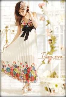 Womens Boho Floral Pleated Empire Chiffon Long Maxi Summer Sun Dress