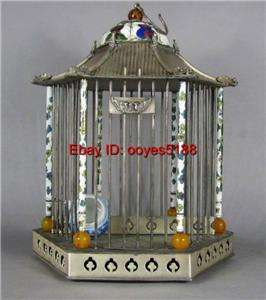 old TIBETAN SILVER INLAY CLOISONNE TOWER bird cage