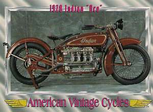 Vintage Cycle 1928 Indian Ace Motorcycle Engine 77 cu. in. In Line 4
