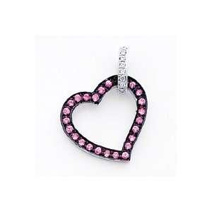 14k White Gold Pink Sapphire and Diamond Pendant