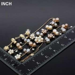 ARINNA Lady Ivory Pearl Flower Rhinestone Necklace Earring Set