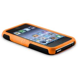 ORANGE/BLACK 3 PIECE HYBRID RUBBER HARD CASE COVER FOR APPLE IPHONE 3G