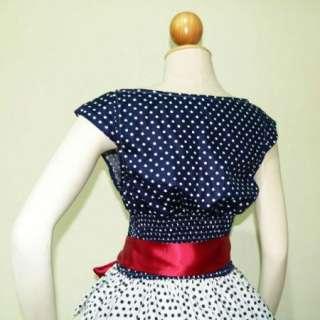 Blue & White Polka Dot 50s PIN UP ROCKABILLY SWING DRESS Full Swing