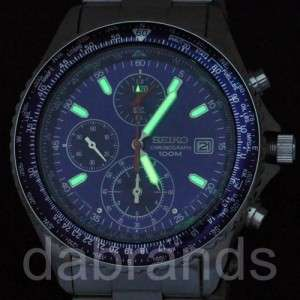 Seiko Sports Mens Flight Master Chrono Blue Dial WR100M SND255