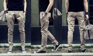 Men slim solids low waist baggy pencil pants long trousers 3 colors
