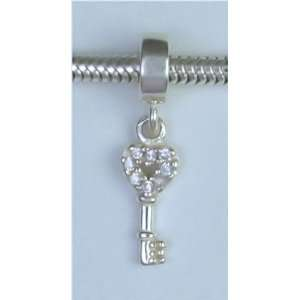 KEY Locket Silver 925 Dangle Charm Bead for Troll Biagi Pandora
