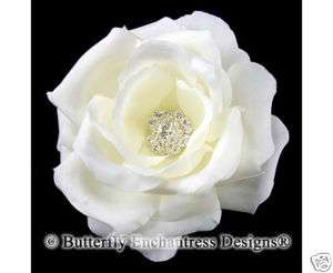 Rhinestone Light Ivory Rose Flower Bridal Hair Clip