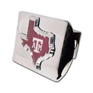 Texas A&M University Aggies (TX shape with color) Chrome Trailer Hitch
