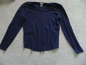 Ann Taylor Navy Blue Long Sleeve T Shirt Size Medium Used ~