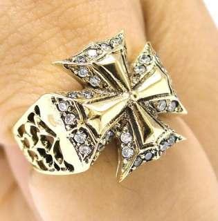 CZ MALTESE CROSS KNIGHT TEMPLAR GOLD BRASS RING Sz 7