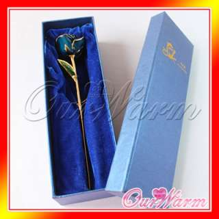 Gold Plated Real Blue Rose Flower Valentines day Gift