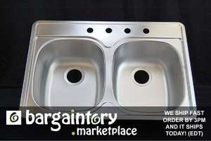 New Franke Double Bowl Kitchen Sink Stainless Rear Drain