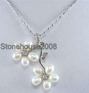 white freshwater pearl rhinestone pendant necklace 17