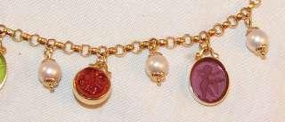 Tagliamonte 14k Gold Italy Venetian Glass Charm Bracelet Moon Face