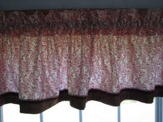Red Floral Civil War Era Fabric Reproduction Toile Valance 17 x 81