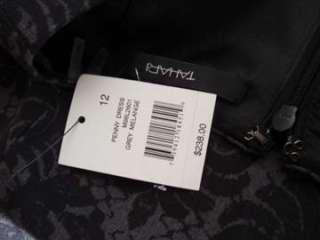 NEW Tahari Charcoal Gray & Black Lace Pattern Penny Dress $238 Tags