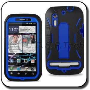 MOTOROLA PHOTON 4G BLACK BLUE HEAVY DUTY SILICONE+HARD CASE KICKSTAND