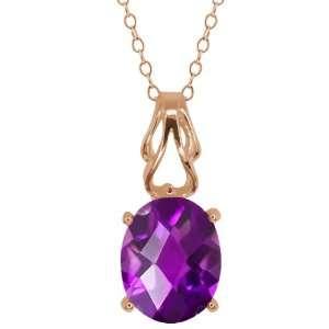 60 Ct Checkerboard Purple Amethyst 14k Rose Gold Pendant Jewelry