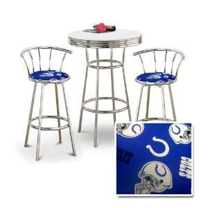 Chrome Bar Table & 2 Chrome 29 Indianapolis Colts NFL