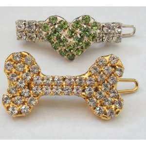 Swarovski Crystal Hair Clips Bone and Heart 1.25 Wide
