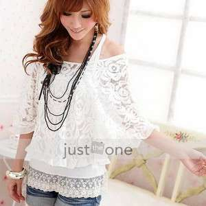 Women Casual Lace Top Shirt Cover Up Blouse Vest 2in1