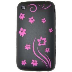 Flowers * Soft Silicone Laser Case (Black & Hot Pink)