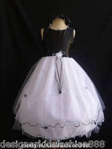 RT Black Flower girl bridal pageant dresses 2 4 6 8 10 12