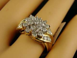 LADIES/WOMENS YELLOW GOLD DIAMOND CLUST RING 14k 1.0 CT