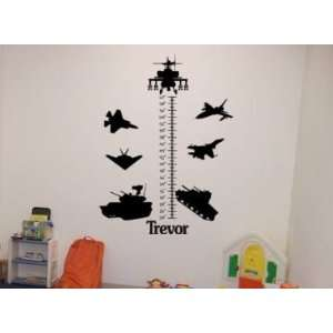 Growth chart personalized vinyl wall decal  Big 40 X 54 inch military