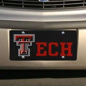 NCAA Texas Tech Red Raiders Black Laser Tag Mirrored