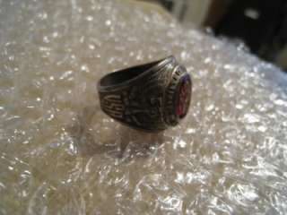 WWII ENGRAVED STERLING SILVER US ARMY MILITARY RING