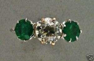 ANTIQUE ENGRAVED RARE OLD EUROPEAN CUT ROUND DIAMOND & EMERALD RING