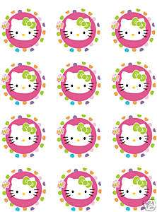 HELLO KITTY Edible CUPCAKE Image Icing Toppers Birthday