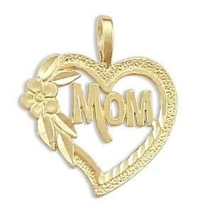 MOM Heart Flower Pendant 14k Yellow Gold Charm Jewel Roses Jewelry