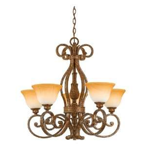 with 5 Uplights with Amber Leaf Fossil Glass, Antique Gold Leaf Finish