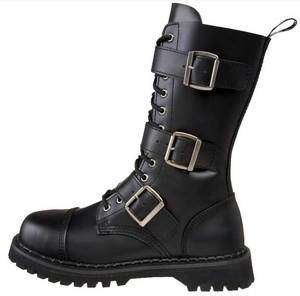 RIOT 12 BLACK LEATHER COMBAT MOTORCYCLE BOOTS WITH BUCKLES NEW