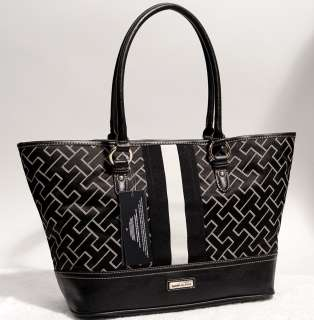 NEW Tommy Hilfiger TH Logo Black Tote Handbag Hobo Bag Purse
