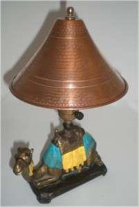 VINTAGE ART DECO EGYPTIAN REVIVAL CAMEL LAMP w ORIG. HAMMERED COPPER