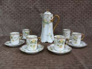 13pc Haviland France Yellow ROSES Gold Chocolate Set Pot Cups Saucers