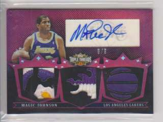 2007 08 Topps Triple Threads MAGIC JOHNSON Jersey Colors PATCH Auto