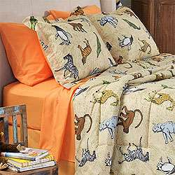 nEw 6pc ZOO ANIMALS Elephant Bed n Bag TWIN BEDDING SET