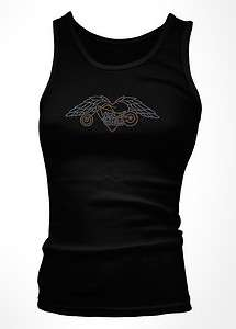 Chopper Winged Heart Passion Biker Riding Harley Girls Tank Top