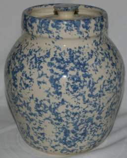 Extra nice Paul Storie Pottery sponge ware lidded crock   cookie jar.